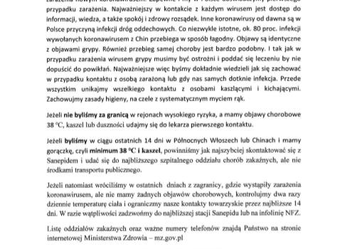 Komunikat Ministra Zdrowia ws. koronawirusa